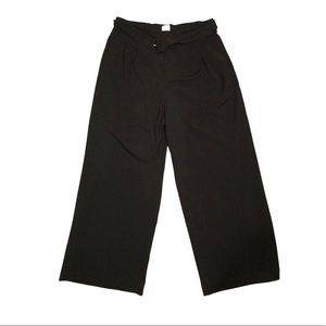 Black Wide Leg Trousers with Belt and pockets